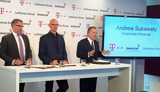 Duetsche Telekom, Lufthansa and Inmarsat leadership announce the European Aviation Network