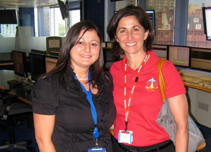 Daniela (left) with American engineer and retired NASA astronaut Nicole Stott, in the SCC