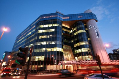 Night time view of the exterior of Inmarsat's office block