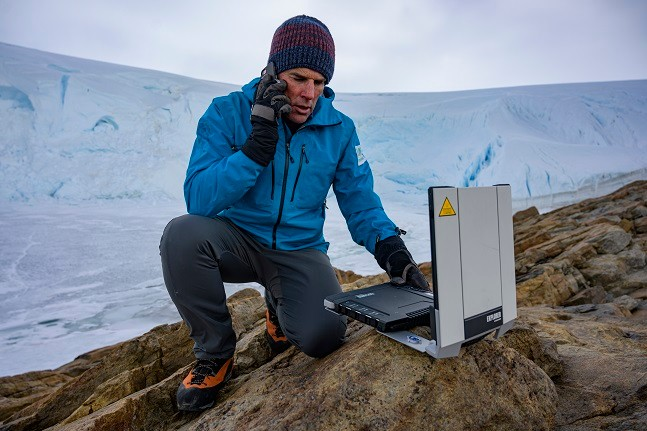 Lewis Pugh is pictured in the Antarctic with a Cobham EXPLORER 710 terminal