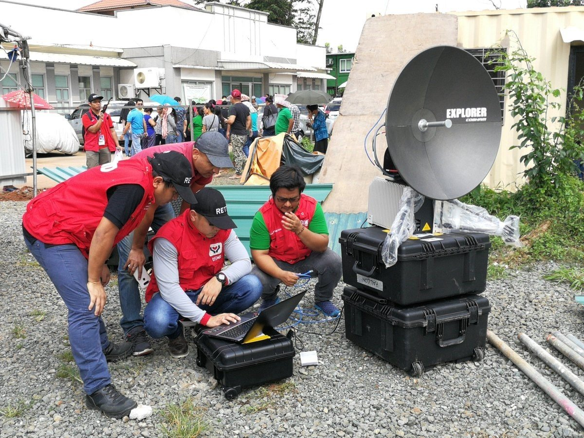 Disaster preparedness training in the Philippines setting up Global Xpress terminals as part of our work with the UK Space Agency International Partnership Programme